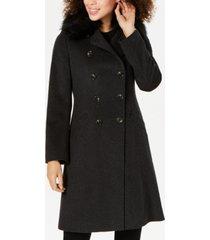 tahari double-breasted faux-fur-collar coat