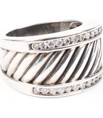 david yurman cigar band sterling silver diamond ring silver sz: 7