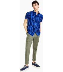 sun + stone men's adam regular-fit feather-print shirt, created for macy's
