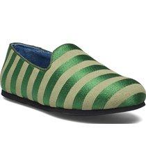 hums striped canvas slipper loafers låga skor grön hums