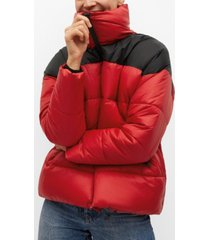 bicolor quilted anorak jacket