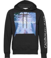 wave photoprint hoodie hoodie trui zwart calvin klein jeans