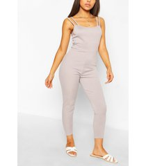petite strap detail fitted rib jumpsuit, grey