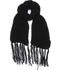 bufanda negra boerss lana con flecos