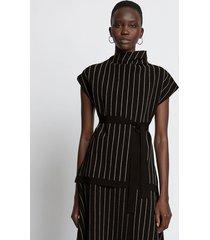 proenza schouler chalk stripe knit top 10212 black/ecru l