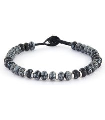 snowflake obsidian rhodium-plated sterling silver bead bracelet