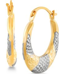 two-tone textured hoop earrings in 14k gold & white rhodium-plate