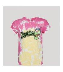 """camiseta masculina squishee"""" estampada tie dye manga curta gola careca rosa"""""""