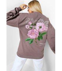 oversized bloemenprint sweater met rugopdruk, charcoal
