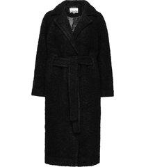 boucle wool wollen jas lange jas zwart ganni