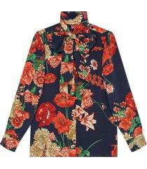 gucci spring bouquet silk shirt - blue