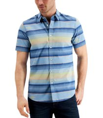 sun + stone men's southwest striped shirt, created for macy's