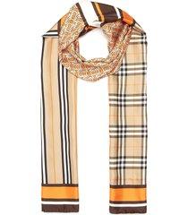 logo monogram vintage check silk scarf