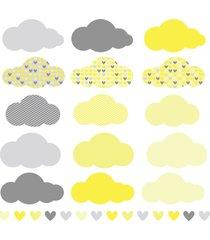 adesivo de parede chuva de amor clã¡ssico amarelo e cinza - multicolorido - dafiti
