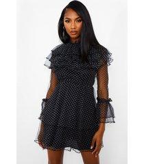 dobby mini jurk met hoge kraag en ruches, zwart