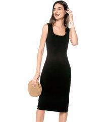 vestido casual sin manga negro realist