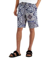inc international concepts men's onyx paisley pull-on shorts, created for macy's
