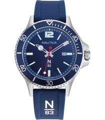 nautica n83 men's napabs907 accra beach blue/silver silicone strap watch