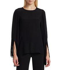 kobi halperin women's joanie fringe cuff blouse - black - size s