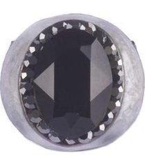anel armazem rr bijoux resina perolada cristal preto grafite - feminino