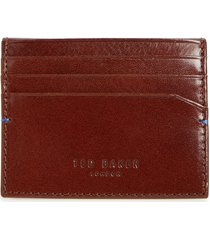 men's ted baker london contrast internals leather card case - brown