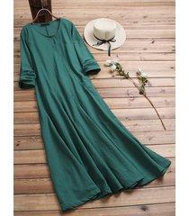 donna vintage maxi-abito in cotone sciolto a maniche lunghe