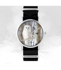 zegarek - biała sowa - czarny, nylonowy
