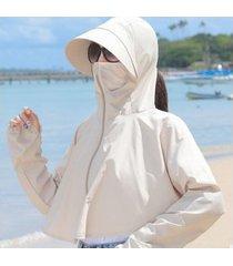 señoras verano nuevo sombrero para el sol extraíble-khaki