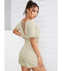 yoins basics mujer casual sin espalda diseño conjuntos de pantalones cortos y top anudados