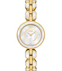 my way stainless steel & mother of pearl bracelet watch