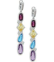 rio sterling silver multi-stone cascading drop earrings
