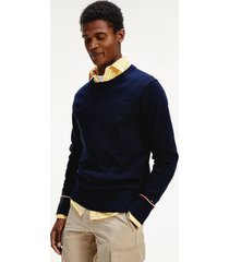 tommy hilfiger men's mix knit sweater desert sky - xs