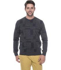 suéter slim jacquard passion tricot drew grafite - kanui