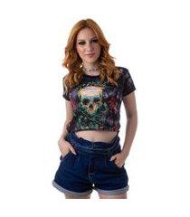 camiseta cropped feminina overfame caveira rosas