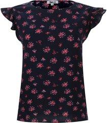 blusa floral con arandelas