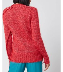 golden goose deluxe brand women's annamaria melange sweater - tango red - xs