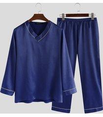 incerun conjunto de pijama informal de satén de manga larga para hombre