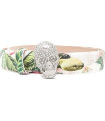 philipp plein floral-print buckled belt - white