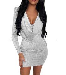 drapeado plateado manga larga holgada vestido
