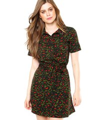vestido curto ellus american verde/ preto