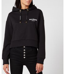balmain women's cropped flocked logo detail hoodie - black - l