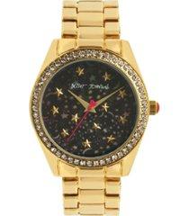 betsey johnson women's celestial starry gold-tone stainless steel watch 40mm