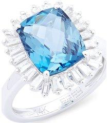 effy women's 14k white gold, london blue topaz & diamond rectangle ring/size 7 - size 7