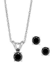 black diamond jewelry set in 10k white gold (1/4 ct. t.w.)