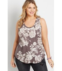 maurices plus size womens 24/7 brown floral tank top
