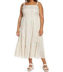 plus size women's caslon tie shoulder tiered maxi dress, size 1x - ivory