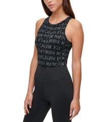 calvin klein performance logo-print sleeveless bodysuit