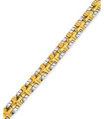 men's satin cross bracelet in gold-plated ip stainless steel