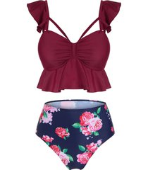 floral print ruched padded tankini set
