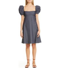 women's brock collection riva chambray babydoll dress, size 14 - blue